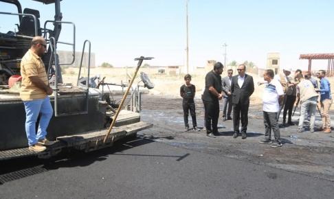 الياسري يشرف على المراحل النهائية لمشروع تعبيد الطريق الستراتيجي ( شارع ابو الفضل العباس  )
