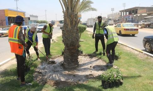 شعبة الحدائق والمتنزهات تواصل اعمالها اليومية في المحافطة